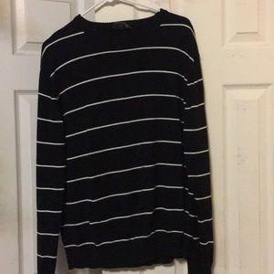 Men's Black Crew Neck Sweater w White Stripes